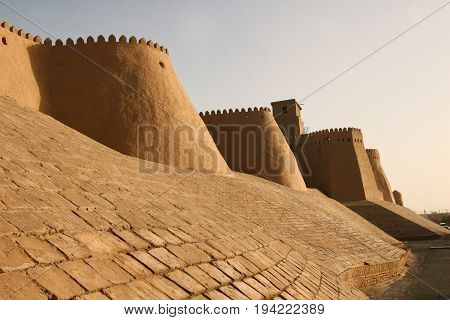 The watchtower of the Khuna Ark the fortress and residence of the rulers of Khiva in Uzbekistan. The Ark was built in the 12th Century.