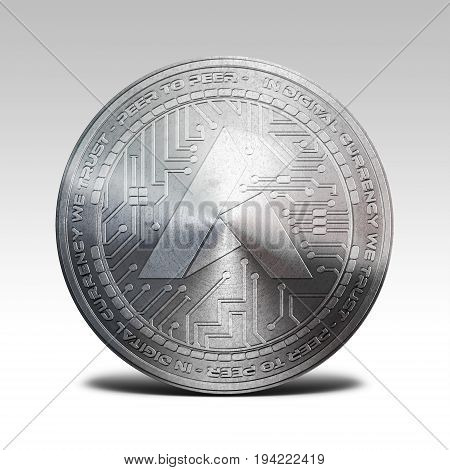 silver ardor coin isolated on white background 3d rendering illustration