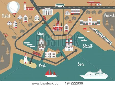 Vector scheme of nonexistent flat seaside town with various buildings bridges churches and transport. Template for vintage tourist map of resort city.