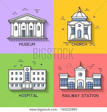 Vector set of public city buildings: museum church hospital railway station. Trendy flat line square icons on color background.