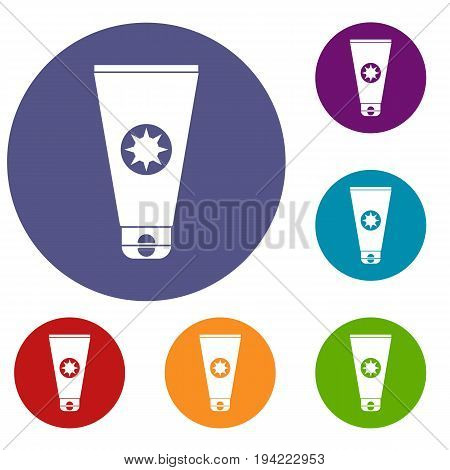 Tube with sunbathing cream icons set in flat circle reb, blue and green color for web
