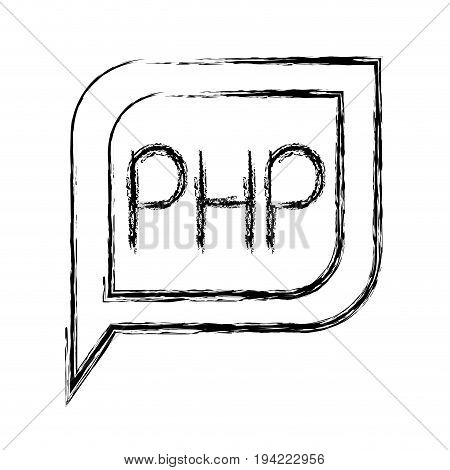 monochrome blurred silhouette dialogue square with tail with php symbol vector illustration