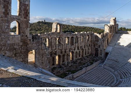 Ruins of Odeon of Herodes Atticus in the Acropolis of Athens, Attica, Greece