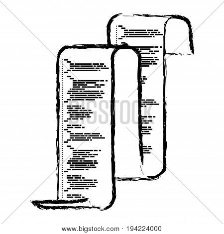 monochrome blurred silhouette of continuously sheet with printed source code vector illustration