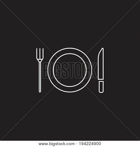 Plate Fork And Knife line icon, dishware outline vector sign, linear pictogram isolated on black. logo illustration