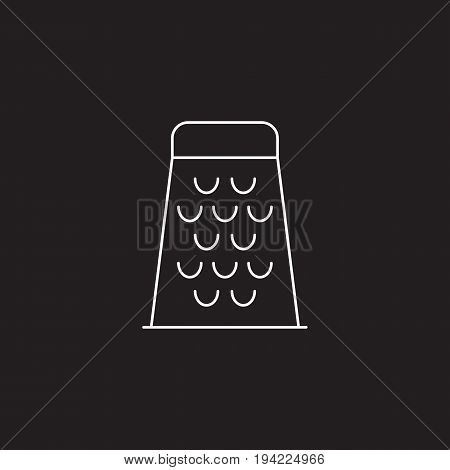 Food Grater line icon, outline vector sign, linear pictogram isolated on black. logo illustration