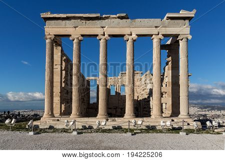 Ancient Greek temple The Erechtheion on the north side of the Acropolis of Athens, Attica, Greece