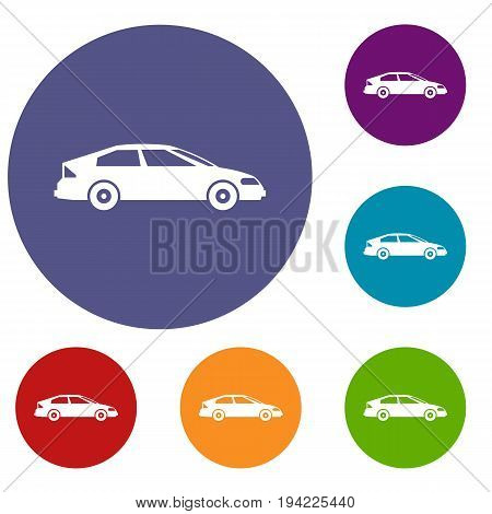Car icons set in flat circle reb, blue and green color for web