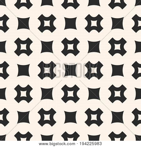 Vector seamless pattern. Simple geometric texture with rounded squares, smooth perforated crosses in staggered array. Stylish abstract minimalist background. Design element for prints, decor, fabric.