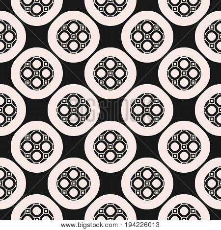 Monochrome ornamental seamless pattern. Vector geometric texture, circular lattice, rounded mesh. Abstract repeat mosaic background. Design element for prints, decoration, textile, digital, web, cover.
