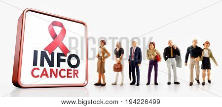 miniature people - A group of people standing in front a cancer information board isolated on white