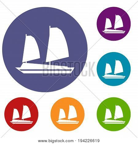 Vietnamese junk boat icons set in flat circle reb, blue and green color for web