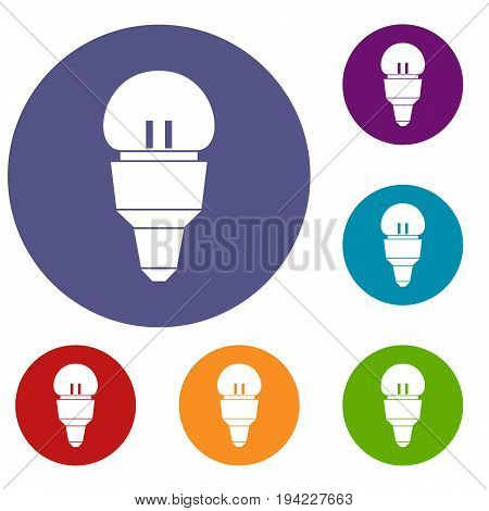 Reflector bulb icons set in flat circle reb, blue and green color for web