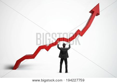 Back view of young businessman maintaining upward red chart arrow with shadow on white background. Sales growth income and finance concept. 3D Rendering