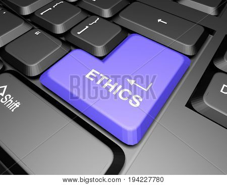 keyboard with ethic button . 3d rendered illustration