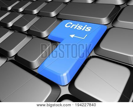 keyboard with crisis button . 3d rendered illustration