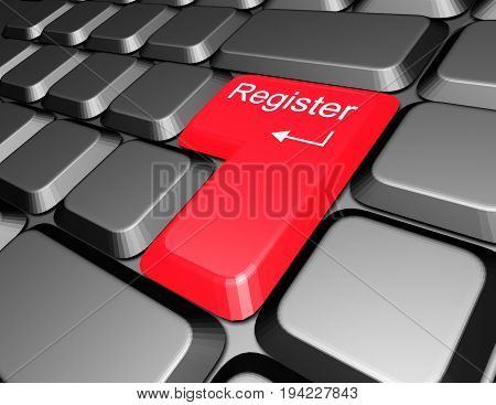 keyboard with register button , 3d rendered illustration
