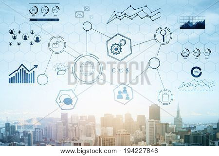 Creative business chart hologram on city background. Networking concept. Double exposure