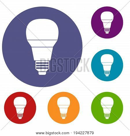 Glowing LED bulb icons set in flat circle reb, blue and green color for web