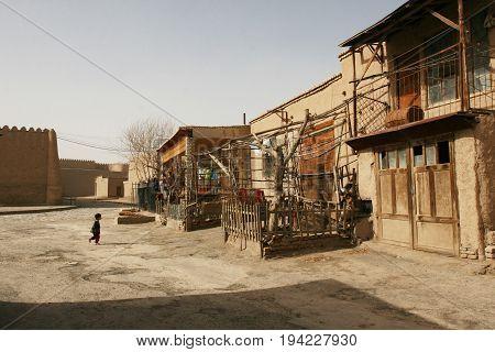 Khiva Uzbekistan - March 08 2009: Poverty in Uzbekistan. Everyday life