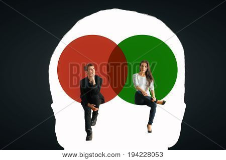 Male head outline with man and woman sitting inside on dark background. Mental gender difference. 3D Rendering