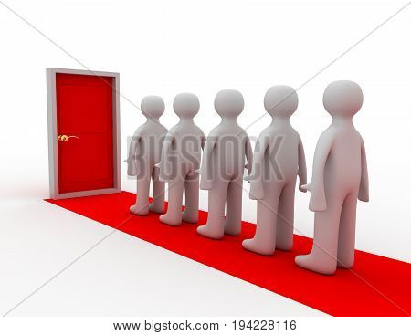People standing before closed door , 3d rendered illustration
