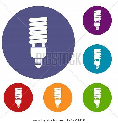 Fluorescent bulb icons set in flat circle reb, blue and green color for web