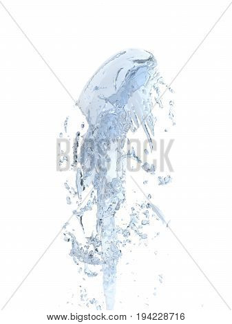 Jet Of Water Upward Stream On White Background 3D