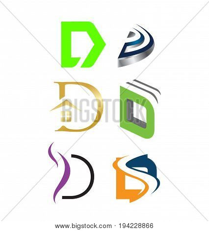 Letter D logo set. Color icon templates design. Set of colorful D letter symbols.