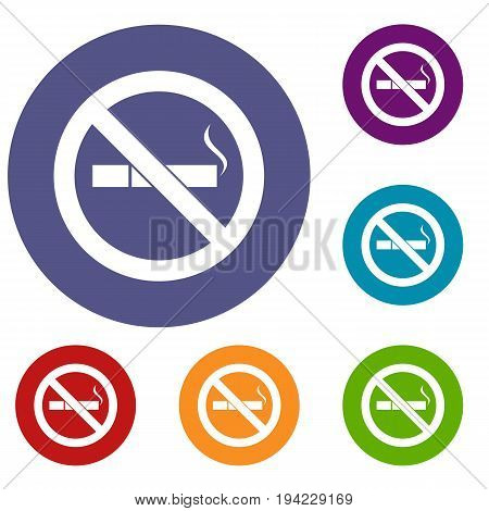 No smoking sign icons set in flat circle reb, blue and green color for web