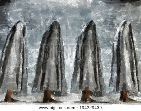 Painting of figures in white cloth  3D Rendering