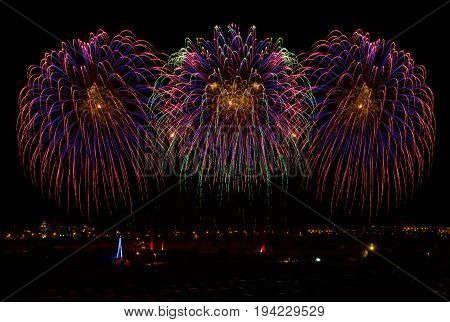Coloful fireworks in Malta. Feast in Malta. Beautiful fireworks