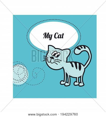 funny cat play with tangle thread. little home animal concept poster. cute pet childish vector illustration