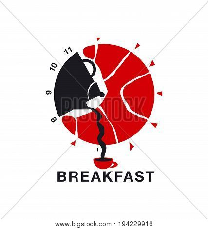 breakfast food menu concept poster. morning meal time information note. croissants and coffe pair vector illustration