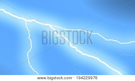 Several Lightning Strikes Over Black Background. Blue. Electrical Storm. 3D Illustration
