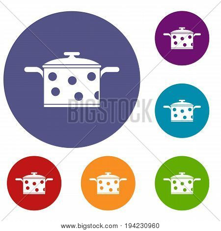 Saucepan with white dots icons set in flat circle reb, blue and green color for web
