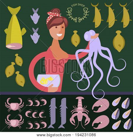 Cartoon character seafood seller with octopus and aquarium in fish shop. Vector illustration