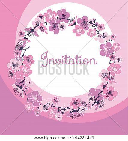 rosy tender color cherry blossom. vector illustration