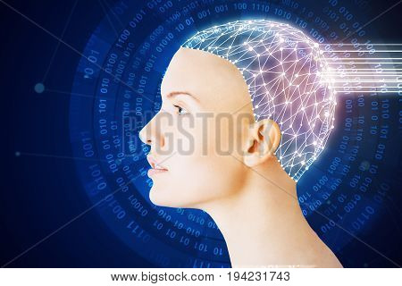 Side view of abstract woman with tech brain on digital blue background. Artificial brain concept
