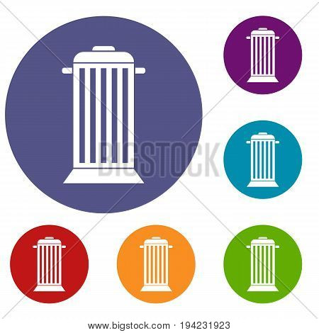 Street trash icons set in flat circle reb, blue and green color for web