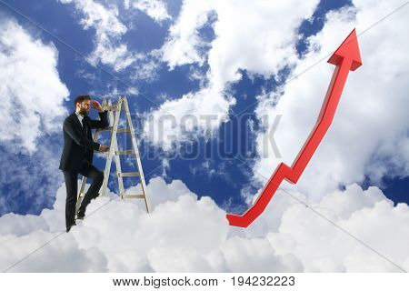 Side view of young businessman climbing ladder and looking into the distance on sky background with upward red chart arrow. Research concept. 3D Rendering
