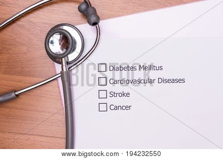Diagnosis form placed on the doctor's desk. Chronic diseases, the major cause of disability and death globally.
