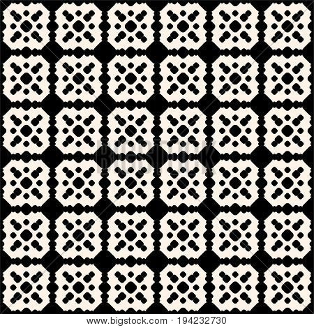 Ornamental tiling seamless pattern. Vector abstract geometric texture with circles rounded shapes, square grid. Monochrome ornament background, repeat tiles. Symmetric design for prints, decor, wrap.
