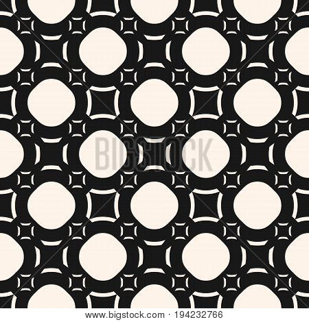 Vector seamless pattern, funky style smooth geometric shapes, circles, outline squares. Abstract monochrome texture. Dark modern background, repeat tiles. Design for prints, covers, package, decor.