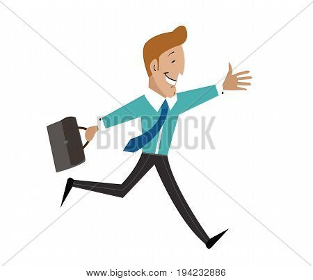 A man with a briefcase is running joyously. Businessman in a tie vector illustration. Cartoon character flat