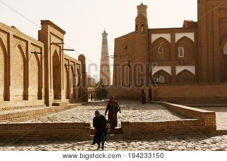Khiva Uzbekistan - March 08 2009: A typical street in Khiva Uzbekistan