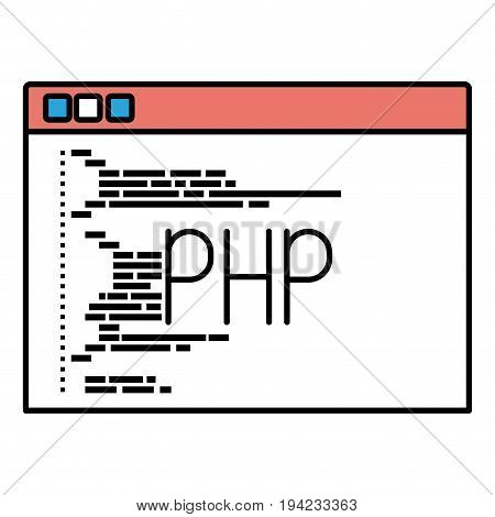 silhouette color sections of programming window with script code php vector illustration