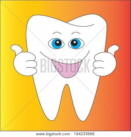 Smiling healthy primal human tooth isolated gradient background.