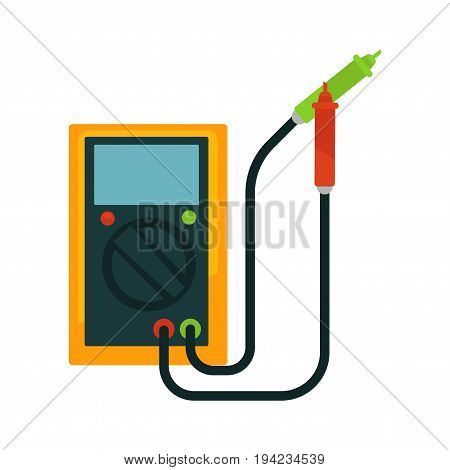 Portable accumulator that charged from car with two wires, big round switcher and green and red indicators isolated vector illustration on white background. Electrical appliance to restore energy.