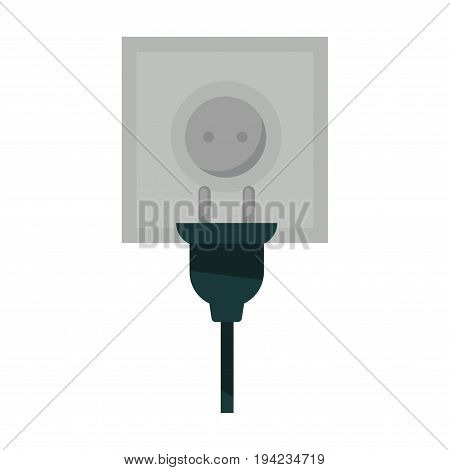 Square power socket and black plug with wire isolated flat vector illustration on white background. Electricity providers for electrical appliances, modern devices and interior illumination.